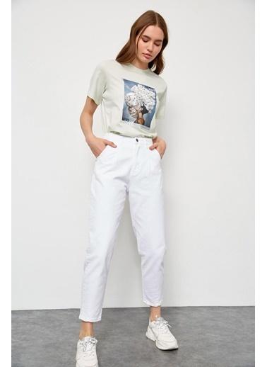 Setre Beyaz Yüksek Bel Balon Fit Jean Beyaz
